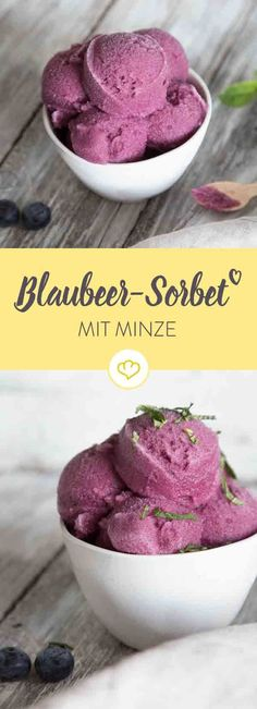 Blaubeer-Minz-Sorbet Just make blue and sink the spoon in creamy-refreshing blueberry sorbet. Sounds like the perfect plan for your summer day. Healthy Ice Cream, Make Ice Cream, Nice Cream, Homemade Ice Cream, Frozen Yoghurt, Ice Ice Baby, Frozen Meals, Vegan Sweets, Cookies And Cream