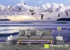Photo wallpaper, Animals - Gulls above the sea - All wallpapers shown on the site are printed on a firm order, according to the customer's size, the chosen image and the desired texture. Wallpaper Please, Outdoor Sofa, Outdoor Decor, Any Images, Photo Wallpaper, Ecology, Fresco, Wall Murals, Gulls