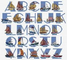 Image result for cross stitch ship sampler Alphabet, Nautical, Initials, Cross Stitch, Chart, Colours, Lettering, Black And White, Etsy
