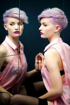 fashion look - short hair with lilac hair color