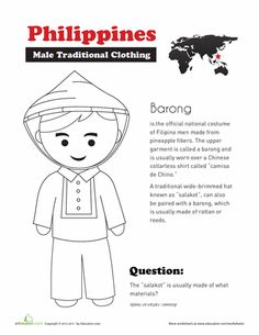 Second Grade Social Studies Worksheets: Traditional Filipino Clothing Philippines Outfit, Philippines Culture, Philippines Flag, Cultura Filipina, Social Studies Worksheets, 2nd Grade Worksheets, Barong Tagalog, Culture Day, Filipino Culture