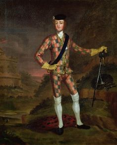The Harlequin Portrait of Prince Charles Edward Stuart (1720-88) c.1745 (oil on canvas) creator Worsdale, John (c.1692-1767) (attr.to) nationality English location Private Collection medium oil on canvas date 18th (C18th)
