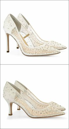 The new sparkle in town! An array of sequins covers these sheer Wedding Shoes available in 2 bridal heel heights. Designer bridal shoes for your walk down the aisle.