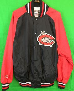 """This is an AWESOME Carolina Mud Cats Baseball warm-up jacket/Windbreaker. The Carolina Mud Cats are a AA affiliate of the Milwaukee Brewers of the MLB. This jacket is made by AIS in the USA, men's size Large. Features the Mud Cat logo on the front, with """"MUD CATS"""" on the back, elastic waist, cuffs and collar. You will be hard pressed to find a cooler Baseball jacket!   eBay!"""