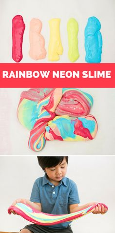 How to Make Neon Rainbow Slime. Fun and colorful sensory project for kids!