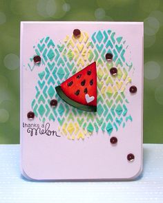 Watermelon card by Valerie Ward using Sweet Summer Stamp Set | Newton's Nook Designs