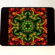 """Pepper mandala glass cutting board, Tempered Glass; 10.75"""" x 7.75"""" x .188"""", Dishwasher Safe. MADE IN USA, farmer's market, harvest, produce by RVJamesDesigns on Etsy"""