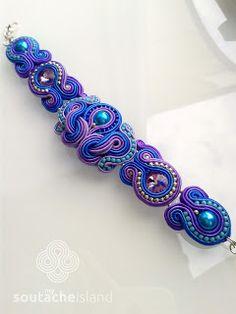 Soutache cobalt, violet, turquoise bracelet, Swarovski Violet