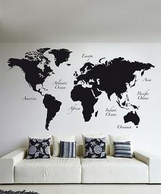 Black World Map Wall Decal Set | zulily & DIY World map wall art that is easy to make and unique | Pinterest ...