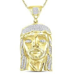 10kt Yellow Gold Mens Round Diamond Jesus Face Christ Messiah Charm Pendant 1/4 Cttw