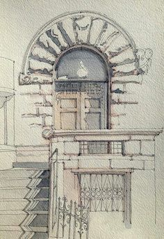 architecture, art, door, drawing, sketch, steps, watercolor