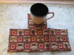 school and house set of mug rugs by KjsKwilting on Etsy, $8.00