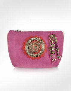Antik Batik Zippered Leather Pouch Clutch