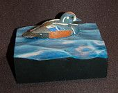 Duck wood carving, hand carved, wooden duck, Father's Day gift, nature wood art, wildlife art, duck hunter gift, birder gift, harlequin duck