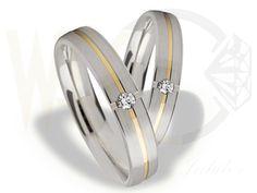 Obrączki ślubne z białego i żółtego złota ozdobione diamentem/ Weddingrings made from white and yellow gold with diamonds/ 2 564 PLN #wedding #weddingrings #jewellery #gold #diamonds