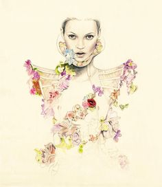 Illustrator Cedric Rivrain - Kate Moss in Alexander McQueen for Numéro from http://www.anothermag.com/current/view/4257/The_Illustrator_Series_Cédric_Rivrain