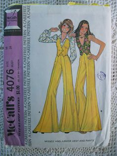 Vintage 70's McCall's Sewing Pattern 4076 Very Wide Hippie Pants & Vest Size 16