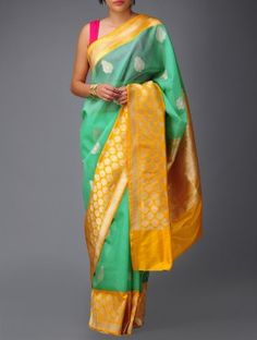 Green-Yellow Banarasi Silk Saree by Ekaya