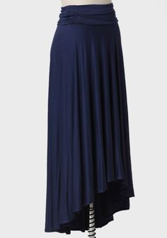 Sh0pruche.com...A wardrobe essential, this navy-hued skirt is crafted in an impossibly soft jersey knit with a delightful asymmetrical hem and a hint of stretch $33