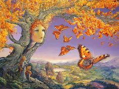 Fairy and fantasy art images, fairy pictures & drawings, flower and butterfly illustrations from Fairies World. Fairies World, Fairy & Fantasy Art Gallery - Josephine Wall/Butterfly Tree© Josephine Wall, Art And Illustration, Illustrations, Fantasy Paintings, Cross Paintings, Wall Paintings, Fantasy World, Fantasy Art, Fantasy Trees