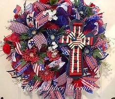 Summer Mesh Wreath-Patriotic Wreath-Deco Mesh Wreath-Red White and Blue Wreath-Patriotic Cross Wreath by LadySlipperWreaths on Etsy