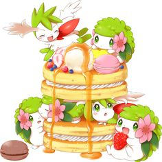 Pokemon shaymine aimi and more pancake time~! Gif Pokemon, Pokemon Gijinka, Pokemon Images, Pokemon Fan Art, Cute Pokemon Pictures, Cute Pictures, Totoro, Photo Pokémon, Chibi