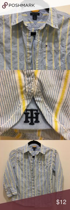 Tommy Hilfiger Button Down Shirt Tommy Hilfiger boy's button down shirt.  Worn once, but needs a good pressing.  Blue and yellow stripes.  Non smoking environment.  Size 7. Tommy Hilfiger Shirts & Tops Button Down Shirts
