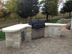 Limestone outdoor kitchen #TopekaLandscape