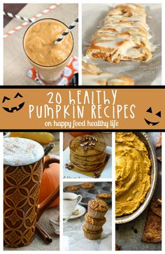 Healthy Pumpkin Recipes - Sick of seeing all the ooey-gooey pumpkin recipes that aren't going to get you any closer to reaching your health goals? Here are a bunch of healthier recipes that are sure to keep you on track during pumpkin season! Köstliche Desserts, Healthy Dessert Recipes, Delicious Desserts, Yummy Food, Healthy Snacks, Pumpkin Recipes, Fall Recipes, Holiday Recipes, Pumpkin Dessert