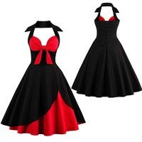 1 Color: Red  2 Material: Cotton Blend  3 Features: Halter V-neck, Sleeveless, Red and Black Colorbloc