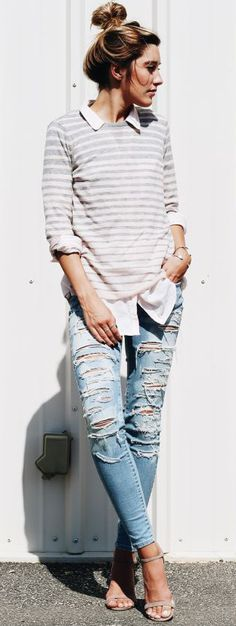 Prepped up ripped jeans Tomboy Fashion, Cute Fashion, Modest Fashion, Fashion Outfits, Ripped Denim, Distressed Denim, Casual Outfits, Cute Outfits, Next Clothes