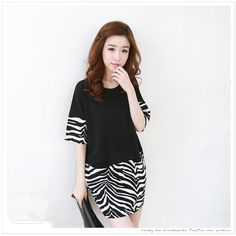 TE1427GJWL Fashion zebra stripes splicing dress