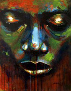 El Mentalista Verde - Acrílico sobre tela 89 x 116 cm.