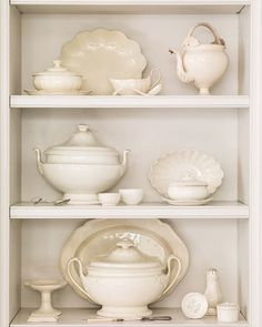 Shelves styled with lovely antique creamware - Loi Thai, Tone on Tone