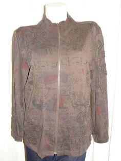 SPA by CHICO'S Jacket Cotton Brown Printed Aztec Cleopatra LS Zip Jacket Sz 1 M #Chicos #BasicJacket #CasualFitnessYoga