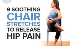 9 Soothing Chair Stretches to Release Hip Pain Fitness Hip Bursitis Exercises, Bursitis Hip, Hip Stretches, Hip Pain, Knee Pain, Back Pain, Tight Quads, Stretching For Seniors, Chair Exercises