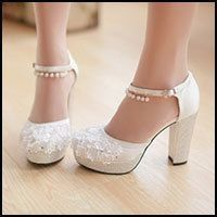 Block heel platform wedding shoes