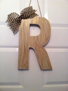 Wood Canvas Monogram R Monogram Letter by ElsiesCreativeDesign