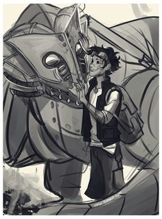 Leo Valdez and Festus the dragon / Heroes of Olympus / art by Viria