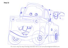 Learn How to Draw Tow Mater from Cars (Cars) Step by Step : Drawing Tutorials Cartoon Car Drawing, Cartoon Head, Car Drawings, Learn Drawing, Learn To Draw, Projects For Kids, Art Projects, Tow Mater, Drawing Tutorials