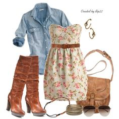 """""""Floral and Denim"""" by dlp22 on Polyvore"""
