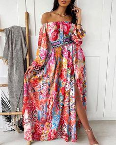 Maxis, Vestido Maxi Floral, Long Dress With Slit, Dress Long, Long Dresses, Sexy Dresses, Fashion Dresses, Trend Fashion, Women's Fashion