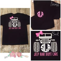 Jeep Hair Don't Care Tshirt Monogram Customize Your Own Colors Comfort... ($25) ❤ liked on Polyvore featuring tops, t-shirts, black, women's clothing, women tops, bow t shirt, pocket t shirts, bow top and black pocket tee