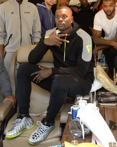 Lance Stephenson poses in some Volt Foams on the plane to China for #NBAGlobalGames.