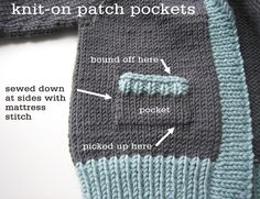 Knit-on Patch Pockets--Sweater Techniques Series – Gramps Baby Cardigan – 6 / 6 : Finishing Touches Knitting Help, Knitting For Kids, Knitting Stitches, Knitting Designs, Knitting Yarn, Knitting Projects, Baby Knitting, Knitting Tutorials, Knitting Patterns