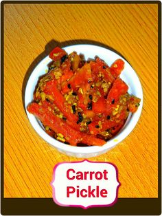 Veg Indian Good Food Recipes..: Carrot Pickle {Gajar Ka Achaar} Carrot Recipes, Veg Recipes, Snack Recipes, Healthy Recipes, Indian Chutney Recipes, Indian Food Recipes, Ethnic Recipes, Pickled Carrots, Gujarati Recipes