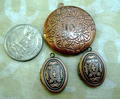 3 Copper Lockets 2 oval 1 round etched front GREAT by MsPunkinelf, $12.99