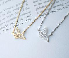 Paper Crane Necklace