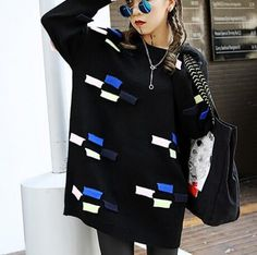 Unique color block knit sweater for women long sweaters pullover