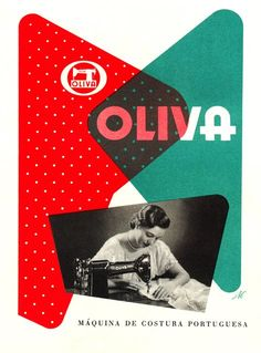 """OLIVA"" 'Mâquinà de Costura Portuguesa' (The Portuguese Sewing Machine), signed: 'A.C' - Graphic by Alberto Cardoso (b. Graphic Design Print, Modern Graphic Design, Retro Design, Graphic Design Typography, Graphic Design Illustration, Graphic Prints, Typography Love, Design Fields, Vintage Sewing Machines"